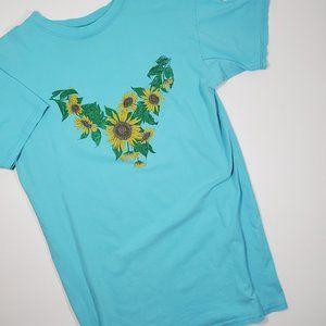 Vintage 90's Y2K Sunflower Sleep Tee Shirt Gown XL